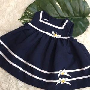 Vintage 3-6mos navy blue dress
